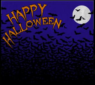Halloween bats and moon